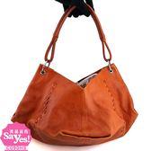 【奢華時尚】秒殺推薦!BOTTEGA VENETA 磚橘色復古牛皮肩背籃型包(八成新)#22594