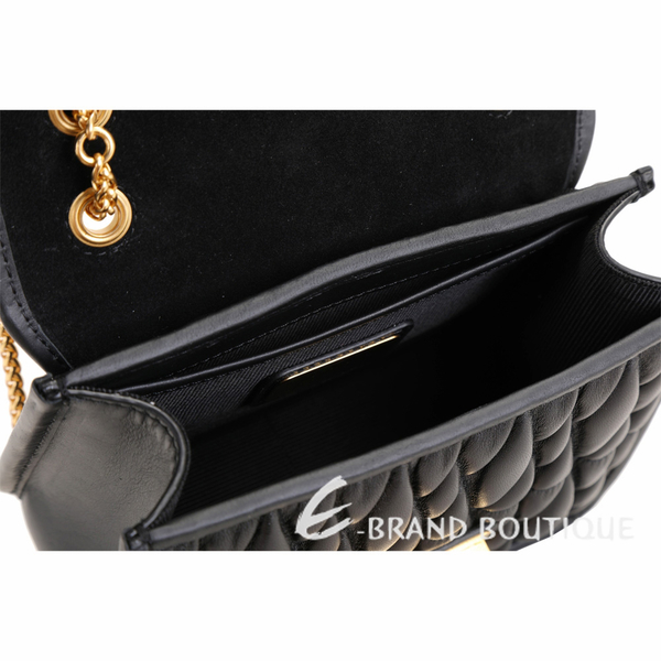 FURLA Metropolis 迷你款 金釦絎縫皮革肩背鍊帶包(黑色) 1920049-01