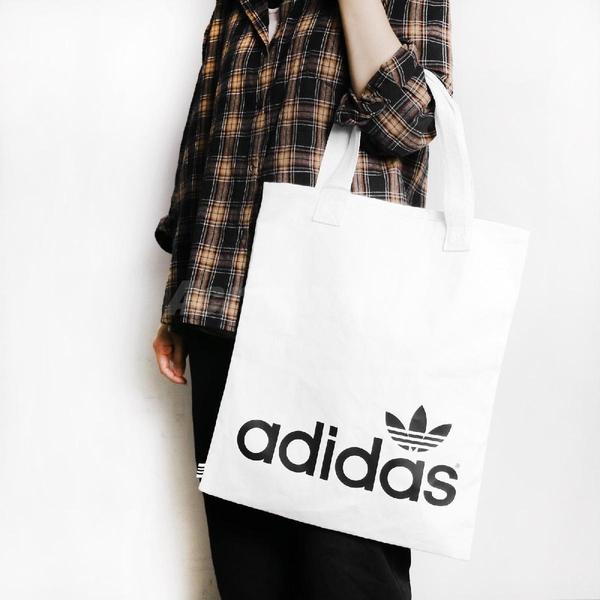 adidas 購物袋 Shopper bag 白 黑 男女款 托特包 帆布袋 運動休閒 【ACS】 FT8539