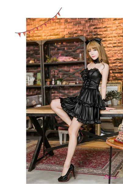 黑色七件組 馬甲式蘿莉女僕女傭造型服 角色扮演服 派對服 半罩內衣 平口洋裝 【Queen時尚精品】