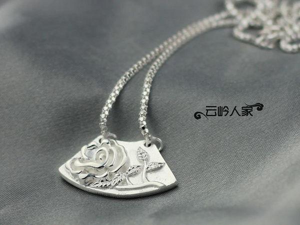 銀飾女飾品 銀項鏈 精致鏤空雕花 國色天香 鎖骨鏈