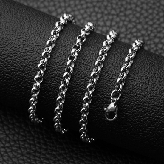 《 QBOX 》FASHION 飾品【NXL0038】精緻個性圓珍珠環扣鈦鋼項鍊子/鋼鍊條(0.3/0.4cm)