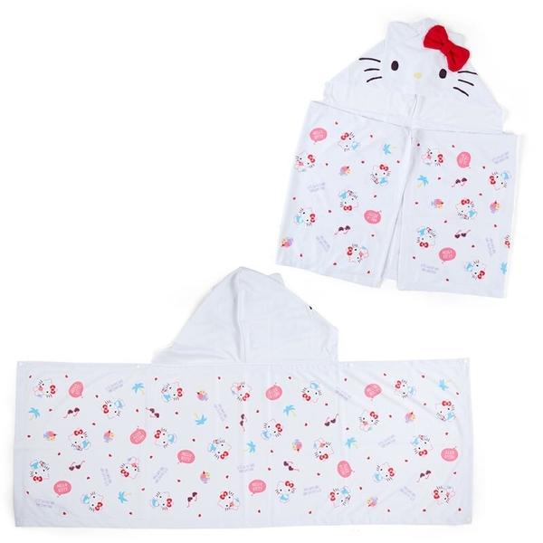 小禮堂 Hello Kitty 造型連帽涼感毛巾 附夾鏈袋 涼感浴巾 沙灘巾 50x110cm (2021炎夏企劃) 4550337-56018