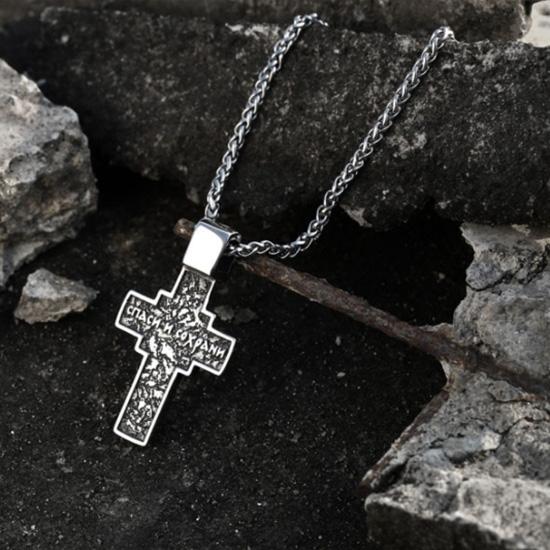 《QBOX 》FASHION 飾品【CLHP185】精緻個性歐美復古耶穌十字架鑄造鈦鋼墬子項鍊/掛飾