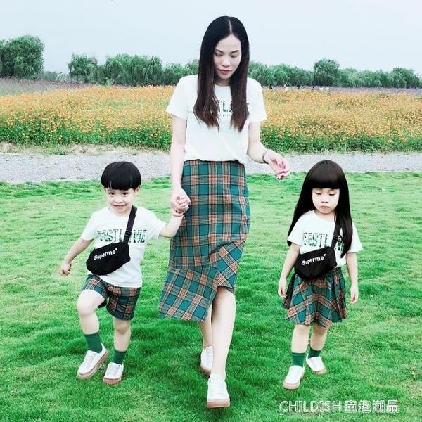 新潮全家裝一家四口母子母女裝時尚短袖T恤家庭裝 童趣潮品