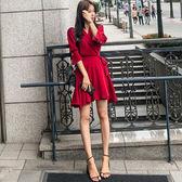 VK旗艦店 韓國風名媛收腰修身西裝領V領長袖洋裝
