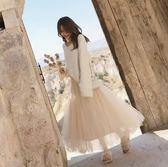 韓版休閒上衣針織衫半身裙兩件套新款毛衣網紗半身裙兩件套高腰A字裙中長款仙女裙套裝NB15-B2-8556
