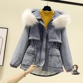 牛仔外套 牛仔加絨外套女冬裝新款韓版寬鬆超大毛領加厚棉服中長款棉襖T 2色