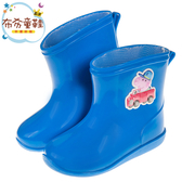 《布布童鞋》粉紅豬小妹喬治豬小車藍色附鞋墊迷你兒童雨鞋(14~18公分) [ A9D561B ]