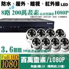高雄/台南/屏東監視器/1080P-AHD/到府安裝【8路監視器+半球型攝影機*8支】標準安裝!非完工價!