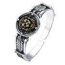 《 QBOX 》FASHION 飾品【B923S402】精致個性歐美復古皇室獅子圓牌S925純銀/泰銀開口手環