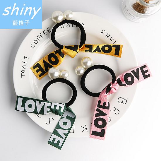 【DJB8301】shiny藍格子-love字母珍珠彈力髮圈