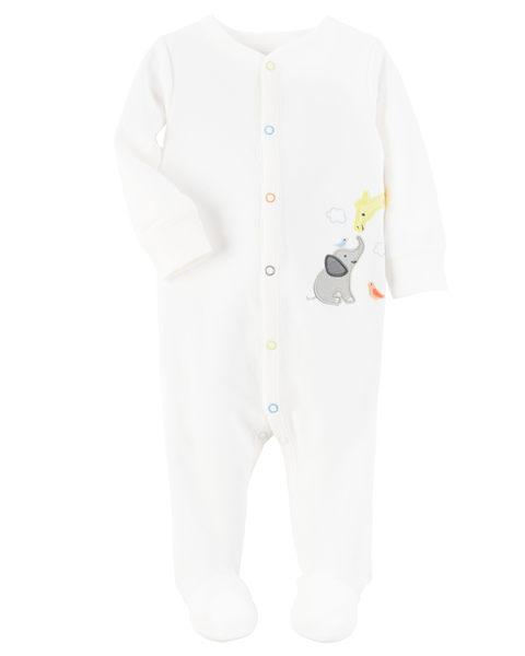【美國Carter's】長袖包腳純棉連身衣- 甜蜜動物園純白系列 115G227