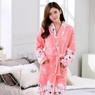 睡袍女秋冬中長款家居服浴袍睡衣法蘭絨珊瑚絨晨袍可外穿冬季加絨 小山好物