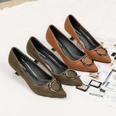 尖頭細跟單鞋 性感氣質高跟鞋 時尚淺口鞋【多多鞋包店】z8121