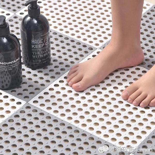 奇雅【6片裝】浴室拼接防滑墊淋浴地墊衛生間鏤空墊子單品 檸檬衣舍