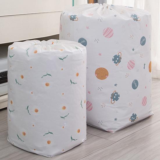 棉被袋 收納袋 束口袋 小 束繩袋 整理 搬家袋 收納 換季收納 PEVA圓筒束口收納袋【N182】慢思行