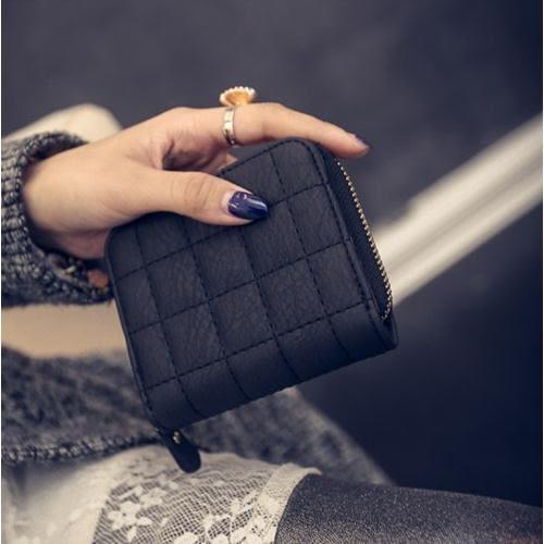 韓國 迷你 拉鏈 錢包 皮夾 女 短款 學生 可愛 零錢包 兩折式 錢夾 卡包 短夾 格紋 壓紋