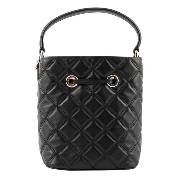 【KATE SPADE】Natalia 菱格紋縫線皮革二用水桶包(小款)(黑色) WKR00076 001