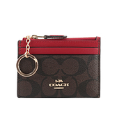 【COACH】拚皮革零KEY/卡夾/零錢包(巧克力/紅色) 88208 IMRVQ