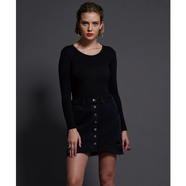 ONETEASPOON  WW  DOUBLE BLACK VIPER HIGH WAIST BUTTON THROUGH MINI  牛仔短裙-(女)