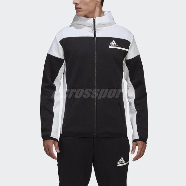 adidas 外套 Z.N.E. Full-Zip Hoodie 黑 白 男款 連帽外套 再生材質 訓練 運動休閒 【ACS】 GM6533