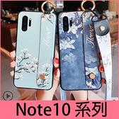 【萌萌噠】三星 Galaxy Note10 Note10+ 腕帶支架復古花朵碎花保護殼 全包防摔軟殼 手機殼 附同款掛繩