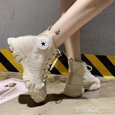 白色馬丁靴女夏季透氣機車新款潮帆布短靴網紅沙漠工裝鞋高筒(快出)