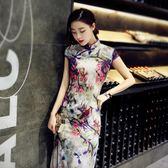 洋裝旗袍日常長款連身裙春新款女改良性感裙修身中式大碼【限時八五折】