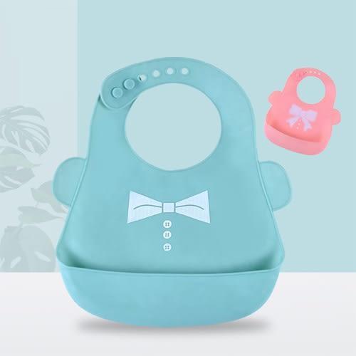 【超取499免運】卡通矽膠防水圍兜 寶寶超軟矽膠圍兜 矽膠飯兜
