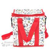 〔小禮堂〕Hello Kitty  折疊式手提保冷袋《15L.白紅.滿版.小老鼠松鼠》保溫.保冷皆可 4713218-89003