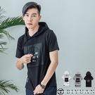 鋼印立體燙銀 短袖帽T【HJ1977】OBIYUAN 連帽上衣 T恤 共3色