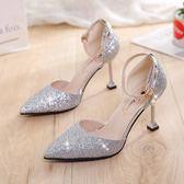 涼鞋女貓跟尖頭少女高跟鞋細跟一字扣亮片銀色女鞋百搭 安妮塔小舖