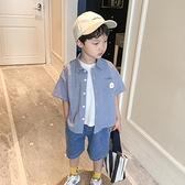 男童襯衫-男童短袖襯衫2021新款夏裝時尚格子休閒洋氣翻領中小兒童帥氣襯衣