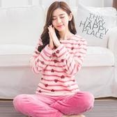 法蘭絨睡衣套裝女春長袖韓版休閒甜美可愛清新學生珊瑚絨家居服 美芭