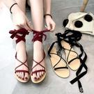 羅馬涼鞋 涼鞋系帶仙女新款歐美百搭交叉綁帶平底涼鞋羅馬風沙灘鞋子潮 韓菲兒