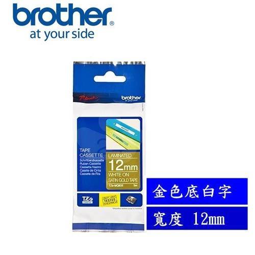 Brother TZe-MQ835 護貝標籤帶12mm 金色底白字