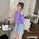 不規則上衣 小心機不規則露肩紫色上衣夏季2020年新款韓版寬鬆純棉短袖t恤女
