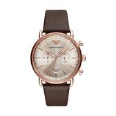 【Emporio Armani】美式經典復刻兩眼日期時尚腕錶-復古棕/AR11106/台灣總代理公司貨享兩年保固