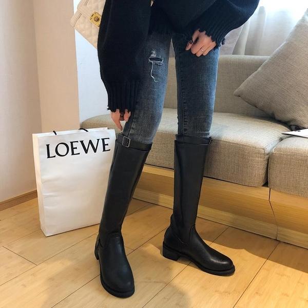 秋季新款韓版chic經典英倫風過膝長靴女黑色顯瘦高筒騎士靴潮  poly girl