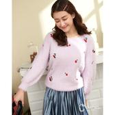 CANTWO保暖刺繡櫻桃針織上衣-共三色