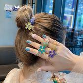 網紅可愛花朵頭繩女簡約韓版甜美小清新髮圈韓國ig皮筋髮繩頭飾