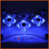 【Love Shop】藍光3風扇筆電散熱器底座電腦散熱墊水晶透明筆電散熱墊NB循環散熱超靜音