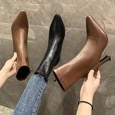 聖誕禮物鞋子女2021年新款秋冬網紅百搭彈力瘦瘦靴細跟尖頭馬丁靴高跟