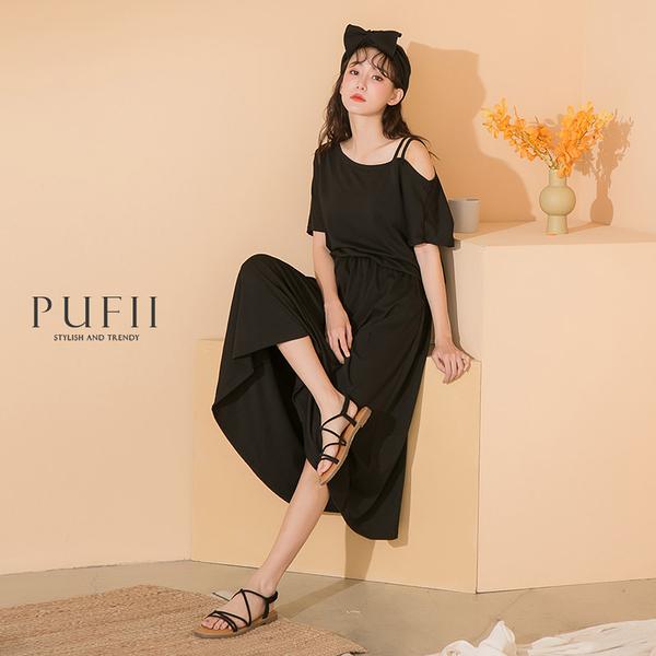 限量現貨◆PUFII-洋裝 單邊雙肩帶鬆緊縮腰洋裝- 0505 現+預 夏【CP18490】
