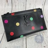 BRAND楓月 Saint Laurent YSL 554188 黑底 彩色圓點 魚子醬皮 黑色LOGO 手拿包 錢包