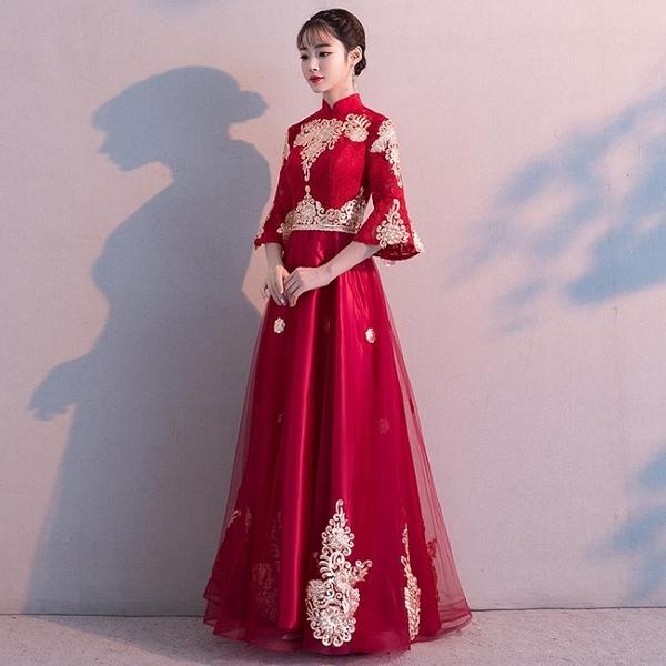 孕婦敬酒服新娘新品新款秋冬季長版中國風高腰紅色結婚晚禮服裙女