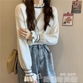 大碼胖mm打底衫女秋冬木耳邊白色半高領毛衣內搭洋氣減齡針織上衣 韓國時尚週