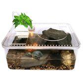 創意烏龜缸水陸帶曬台塑料龜盆小型桌面魚缸造景水族箱爬蟲飼養盒jy【滿一元免運】