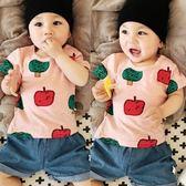 感恩聖誕 嬰兒上衣T恤衫蘋果印花短袖全棉夏裝男女新生寶寶夏季套頭衫0-1歲